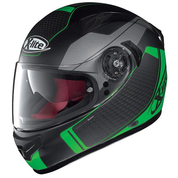 X-Lite X-661 Blink N-Com full face helmet Matte Black Green