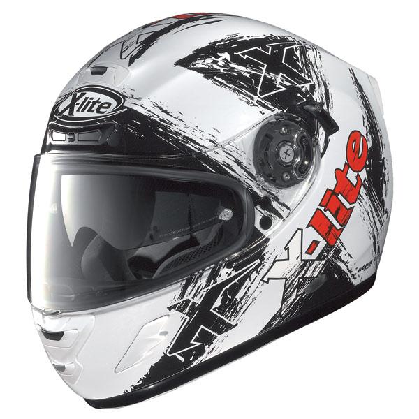 X-Lite X702 Scraped N-Com metal white enduro helmet