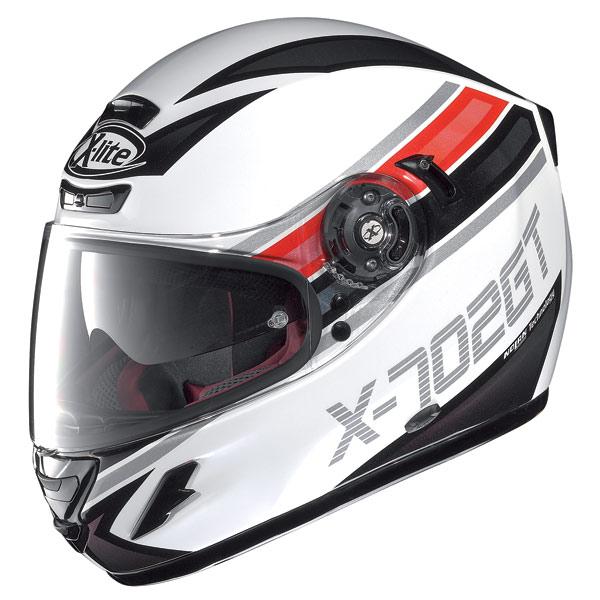 Casco moto X-lite X702 GT Chased N-Com bianco metal