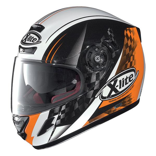 X-Lite X-702 GT Racy N-Com full face helmet White Black Orange
