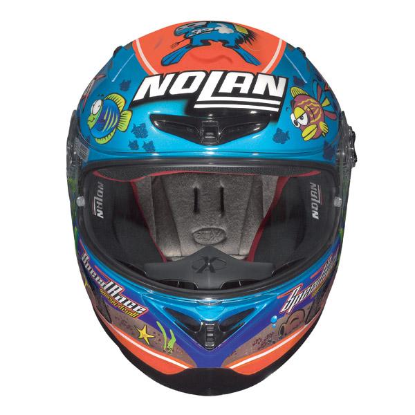 Casco moto Nolan X-802R Replica Melandri Aquarium pearl blue
