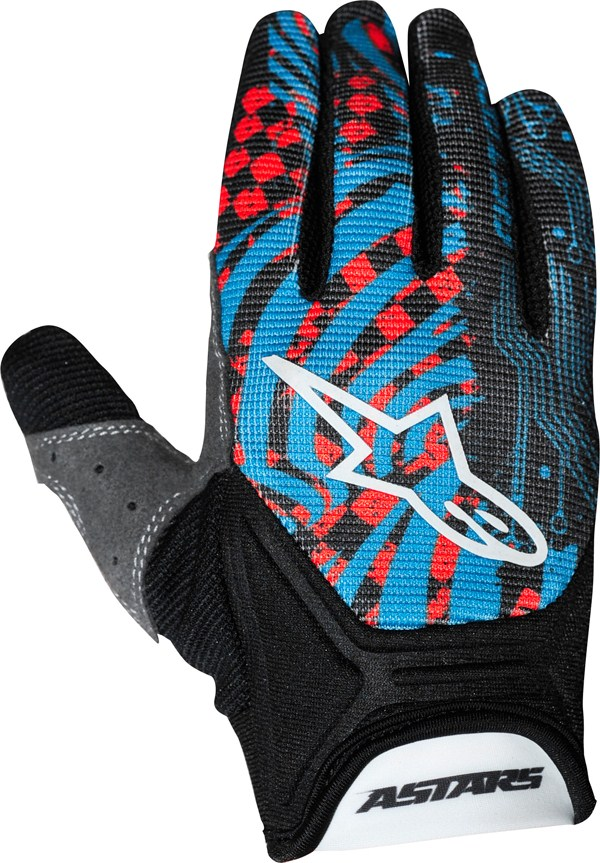 Alpinestars Youth Charger off-road gloves red-cyan-black