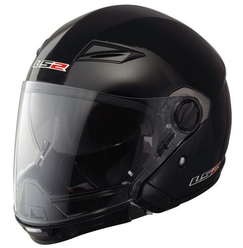 Casco moto LS2 OF569.1 Scape mentoniera staccabile nero lucido