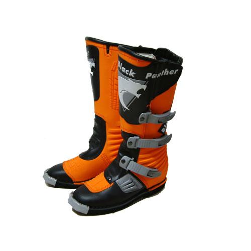 Stivali Moto Cross Enduro Black Panther arancione-nero